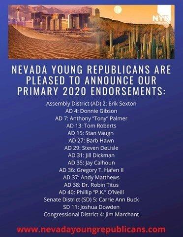 Nevada Young Republicans Endorsements 2020
